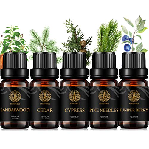 Aromaterapia Woody aceite esencial set para difusor, 100% puro sándalo aceite esencial, 5x10ml grado terapéutico cedro aceite set para Difusor-Juniper Berry,agujas de pino,ciprés,sándalo,cedro Aceite