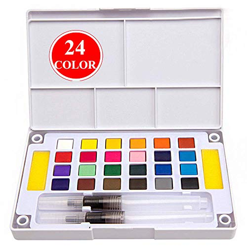 Kalolary 24 Color Watercolor Set - Watercolor Field Sketch Set - Artists Travel Watercolor Paint Set - Free Refillable Water Brush with Sponge