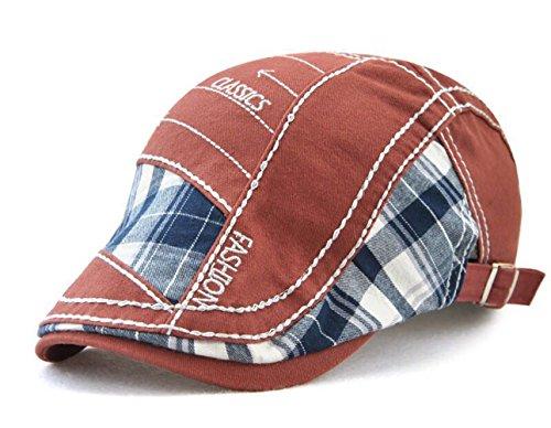 Herren Stickerei Baumwolle Schiebermütze Gatsby Schirmmützen Ivy Newsboy Flat Cap (Rot)