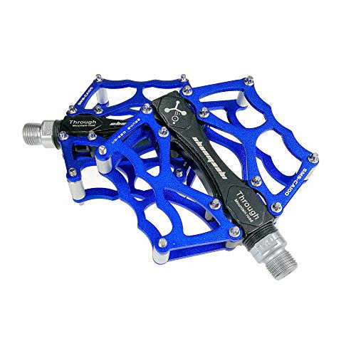Nowbe Mountain Bike Pedal Mountain Bike Pedals 1 Pair Aluminum Alloy Antiskid Durable Bike Pedals Surface for Road Bike 8 Colors (SMS-CA100) Bicycle Platform Flat Pedals (Color : Blue)