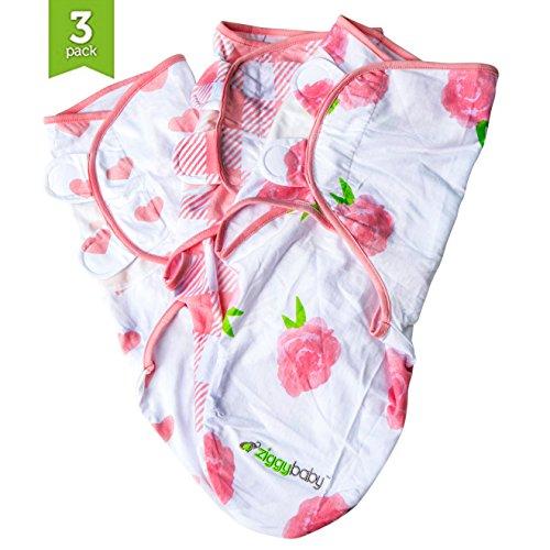 Ziggy Lot de 3 couvertures pour bébé – Ajustement universel – Ziggy bébé réglable pour bébé nouveau-né – Ensemble d'écharpe pour fille 100 % coton doux en rose, floral, cœurs