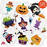FINGOOO Halloween Temporary Tattoos for Kids Adult,120 Pieces Halloween Tattoo Waterproof Halloween Party Favor Goodie Bag(20 Styles)