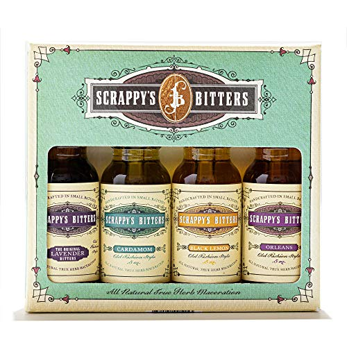 Scrappy's Bitters The New Classics Gift Set, 4 ct, 0.5oz (Lavender, Cardamom, Black Lemon, and Orleans) - Organic Ingredients, Finest Herbs & Zests, No Extracts, Artificial Flavors, Chemicals or Dyes