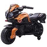 HOMCOM Moto Eléctrica para Niños de +18 Meses 6V con Faros Bocina 2 Ruedas de Equilibrio Velocidad Máx. de 3 km/h Motocicleta de Juguete 88,5x42,5x49 cm Naranja