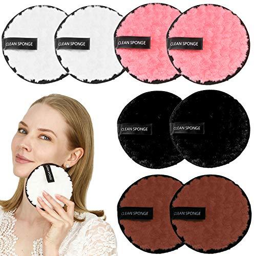 Folora Paquete de 8 almohadillas redondas reutilizables para quitar el maquillaje, lavar tu cara con agua clara y sin productos químicos, lavables y de doble cara, seguras para todo tipo de piel