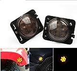 LED Side Maker Lights for 2007-2017 Jeep Wrangler JK Amber Front Fender Flares Parking Turn Lamp Bulb Indicator Lens