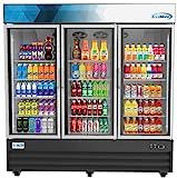 Koolmore 78 1/4' Commercial Glass 3 Door Display Refrigerator Merchandiser - Upright Beverage Cooler with LED Lighting - 53 Cu. Ft.