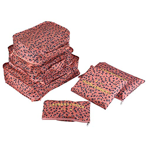 6pcs / Set Conjunto de Bolsa de Viaje para Ropa Organizador ordenado Bolsa Maleta Inicio Armario Divisor Contenedor Embalaje Bolsa de lavandería - Leopardo