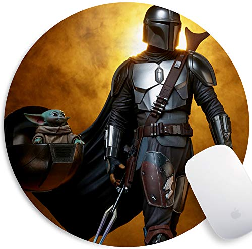 Mandalorian & Baby Yoda Mouse Pad Non Slip Rubber Mousepad Gaming Office Round Mouse Mat
