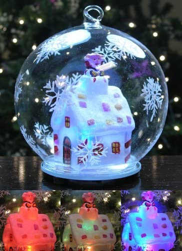 Lighted Christmas Ball Ornament Snowglobe Like LED Glass Globe Ornament with Santa on a Rooftop product image