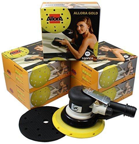 AllorA Exzenter Exzenterschleifer 150mm 5mm Hub + 500 AllorA Schleifscheiben 15-Loch verschiedene Körnungen