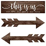 3 Pieces This is Us Wall Decor Rustic Wood Signs Family Quotes Wall Sign Home Decor Wooden Arrow Hanging Signs Wood Grain Background Wall Decor for Home Bedroom Living Room, 15 x 4 x 0.2 Inch (Brown)