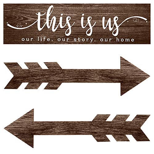 3 Pieces This is Us Wall Decor Rustic Wood Signs Family Quotes Wall Sign Home Decor Wooden Arrow...