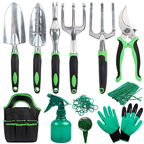 Garden Tools Set, Aluminum Stainless Steel Hand Gardening Kit with Tote Bag, Hand Plant Tool...