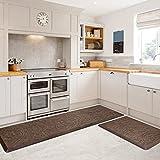 KMAT 2PCS Kitchen Mat Cushioned Anti-Fatigue Floor Mat,Waterproof Non-Slip Standing Mat,Ergonomic Comfort Floor Mat Rug for Home,Office,Sink,Laundry,Desk(17.3'x28'+17.3'x59',Brown)