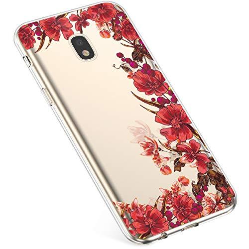 Uposao Hülle Kompatibel mit Samsung Galaxy J7 2017 J730 Handyhülle,Ultradünnen Weiche Silikon Handy Schutzhülle Crystal Clear Durchsichtige Hülle TPU Bumper Case Soft Flex TPU Case,Blühen Blumen