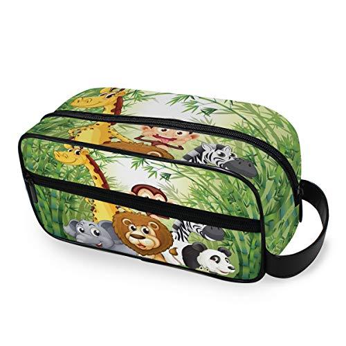 Portefeuille De Stockage Trousse De Toilette Portable Outils Cosmétique Train Case Maquillage Sac Bambou Forêt Beaux Animaux Voyage