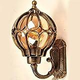 INJUICY Loft Appliques Lampe Murale en Aluminium, Rétro Verre Abat-Jour Imperméable Extérieur Appliques de Type Bougeoir pour Cour Jardin Villa Balcon Bar Café Couloir (Or & Diamètre. 226mm)