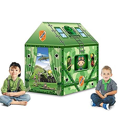 SHWYSHOP Carpas Divertidas para niños Casa Verde Ejército Air Raid Fight Carpas de Juguete Casa de Juegos Regalos para niños Tienda de campaña para Interiores y Exteriores Juguete G (Presente)
