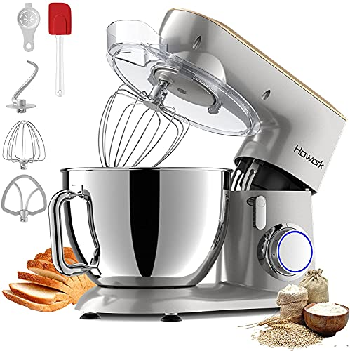HOWORK Stand Mixer, 800W Metal Kitchen Mixer with 9.5QT Stainless Steel Bowl, Dishwasher-Safe Dough Hooks, Flat Beaters, Whisk, Splash Guard, P+10-Speed Kitchen Electric Mixer (9.5 QT, Silver)