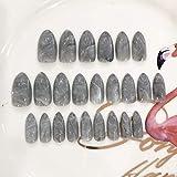 Uñas postizas 24 Unids/set Mármol Rosa Cubierta completa Corto Gris Medio Largo Brillante Mármol Estilete Uñas Uñas postizas Art Press On Nails