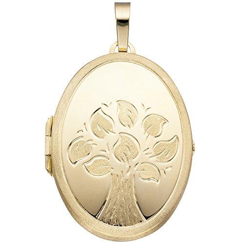 JOBO Medaillon Baum oval für 2 Fotos 585 Gold Gelbgold matt Anhänger zum Öffnen