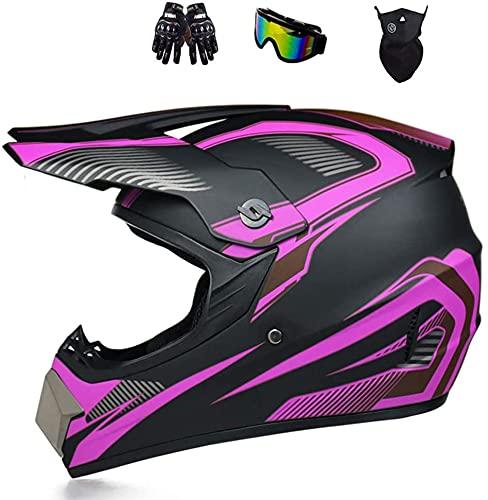 SVIVE ATV Casco, Dot Aprobado Aprobado Off Off Dirt Bike Casco Motocross Casco con Gaggles Color Ganiter Guantes Motorycle Case MX MTB BMX Casco Cuesta Abajo para Hombres Mujeres Adulto,A,XL