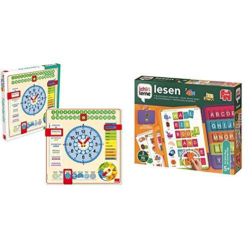 GOULA - Kalenderuhr in Großformat - Holzspielzeug für Kleinkinder - Ab 3 Jahren & Jumbo Spiele 19565 ich lerne lesen Lernspiel für Kinder, Ab 5 Jahren