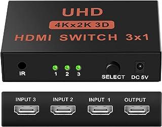 HDTV//proiettore Switch HDMI 4K Neefeaer ecc. supporto 4K//2K//1080P//3D per PS4//Xbox//Sky Box//Fire Stick//lettore DVD 3 porte in alluminio con telecomando