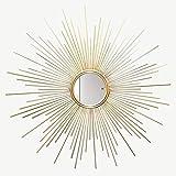 XM-MIRROR Espejo de Pared, Espejo de Pared Decorativo Dorado Redondo Cepillado con Forma de Rayos de Sol para Dormitorio, baño, Sala de Estar, Pasillo y pasaje de Entrada Espejo de Pared,Oro,60cm