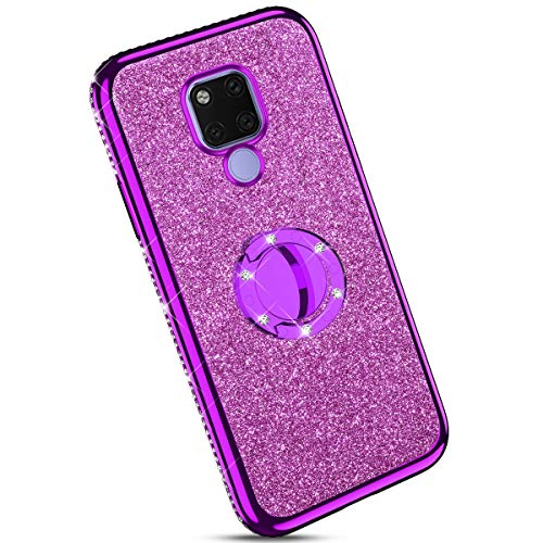 Ysimee Compatibile Cover Huawei Mate 20 X,Custodie Trasparente Brillantini Glitter Anti-Giallo con Rinforzato Placcatura TPU Silicone Protettivo Morbida Ultra Sottile Antiurto Case con Anello,Porpora