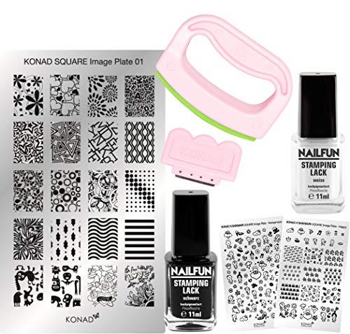 KONAD Stampingset SQUARE Maxi XL mit FANCY Stamp Set + Stampingschablone XL Square + NAILFUN...