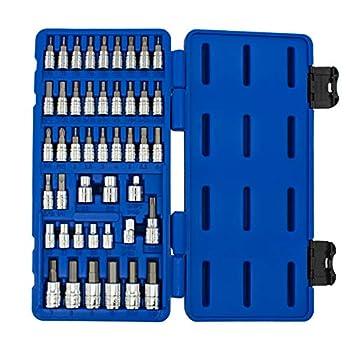 NEIKO 01145A Master Combination Bit Socket Set 45 Pieces | Torx | Hex | External Torx | Screwdriver | S2 Steel Machined Bits | Chrome Vanadium Steel Sockets | Standard SAE and Metric Sized Socket
