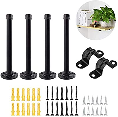 Industrial Iron Black Pipe Shelf Brackets 12 Inch, Set of 4 Heavy Duty Rustic Floating Shelving Bracket For Home Wall Office - Modern Decorative Hanging Metal Pipe Shelves Hardware kit Mounted Support