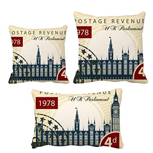 DIYthinker - Juego de fundas de cojín con estampado del Parlamento de Londres, diseño de Inglaterra y Reino Unido