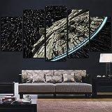 ERQINGWL 5 Stück Leinwand Gemälde Moderne Wandkunst Bilder Home Decor Poster 5 Panel Star Wars Zerstörer Millennium Falcon Wohnzimmer Hd Gedruckt Malerei