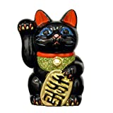 Prodotta in Giappone 16,00 (6,3 Tokoname cm in porcellana con gatto portafortuna Maneki Neko, mano destra, colore: nero