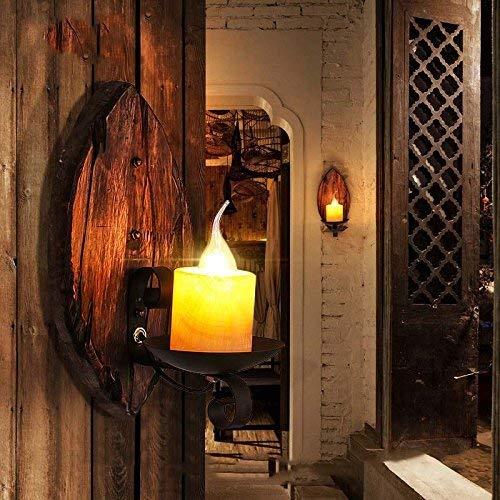 mjk Vintage Lichter Weihnachtslichter Deckenleuchte Lampe Licht, Deckenleuchten, Kronleuchter, Wandlampe - American Retro Creative in Kerzenhalter Holz Nostalgische Kunst Wandlampe Kaffeebar Wandlamp