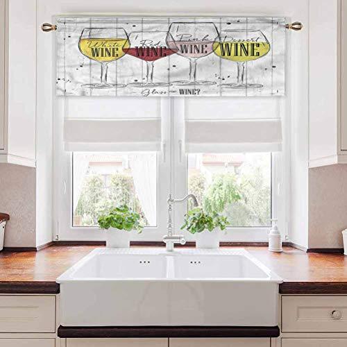 Ahuimin Cortina de ventana cenefa de vino, cuatro tipos de vino rústico, 137,2 x 45,7 cm, cortina para ventana (1 panel)
