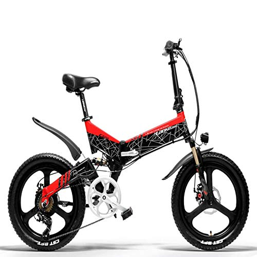 Brogtorl LANKELEISI G650 electric bike 20 * 2.4 Big Tire mountain bike Adult Folding city electric bike 400w 48v LG Lithium Battery Shimano 7 Speed ebike (Red)