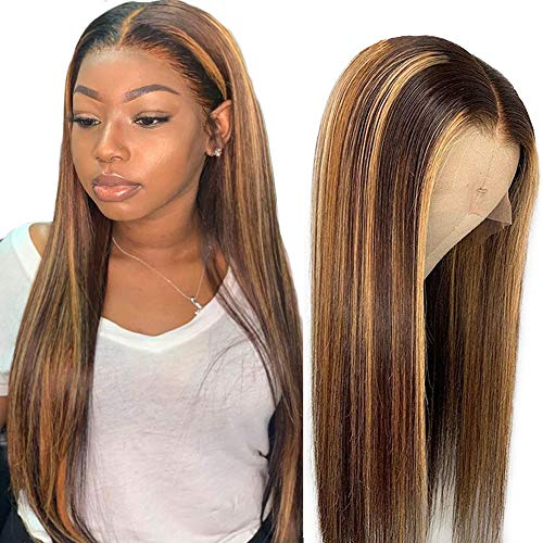 Lace Frontal Wig Human Hair - ORANGE STAR 13 * 6 Highlight Lace Front Human Hair Wigs Remy Brazilian Hair Ombre Blonde #4/27 Pre plucked Natural Hairline 150% Density 14