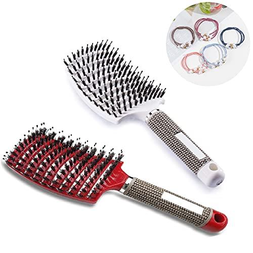 2 Piezas cepillo de pelo, cepillo para el pelo con cerdas de jabalí, cepillo de peinado curvo, puede difundir el aceite del cabello, suavizar el frizz, ventilar y acelerar el secado