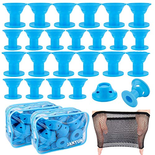 JANYUN 80 Pcs Blue Magic Silicone Hair Curlers Rollers with Hairnet
