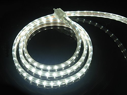 CBConcept UL Listed, 13 Feet, 1400 Lumen, 6000K Pure White, Dimmable, 110-120V AC Flexible Flat LED Strip Rope Light, 240 Units 3528 SMD LEDs, Indoor Outdoor Use, Accessories Included, Ready to use