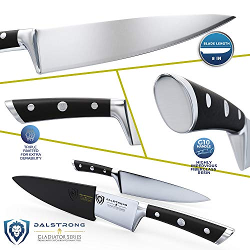 DALSTRONG Chef Knife - 8' - Gladiator Series - Forged ThyssenKrupp High Carbon German Steel - Full Tang, Black G10 Garolite Handle - w/Sheath