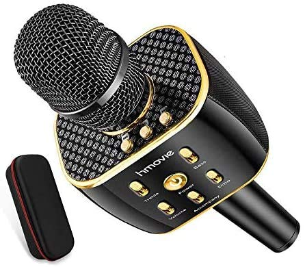 hmovie Bluetooth Wireless Karaoke Microphone, 3300mAh Portable Handheld Rechargeable Karaoke Machine Dual Speakers with Stereo Sound Party Home Birthday Gift for All iPhone/Android/PC