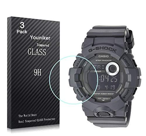 Youniker GBD800 - Pellicola proteggi schermo in vetro temperato per Casio GBD800 da uomo G Shock GBA800, pellicola proteggi schermo in vetro antigraffio e anti-impronte senza bolle