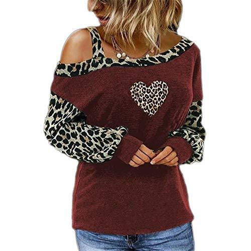 OtoñO E Invierno, Estampado De Leopardo, Costura A La Moda, Camiseta Estampada, Camiseta De Manga Larga para Mujer