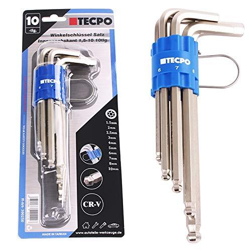 TECPO Winkelschlüsselsatz Innensechskant Schlüssel 10-teilig mit Kugelkopf Sechskant für Inbus Schrauben