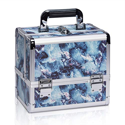 Joligrace Makeup Box Cosmetics Case Jewelry Organiser Vanity Make Up Storage Boxes with Mirror and One Brushes Holder Key Locks (Blue Marble Pattern)